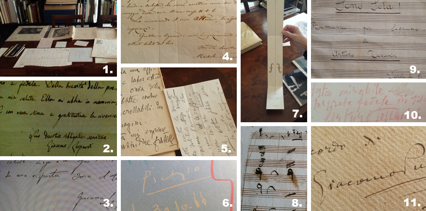 Carte antiche di uomini illustri sul tavolo dell'esperto, per una verifica dell'autenticità
